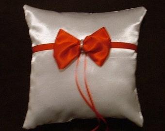 ring bearer pillow custom made white red satin