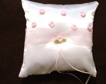custom made white or ivory satin ring bearer pillow with pink flowers