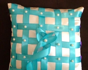 your choice color on custom made white ring bearer pillow