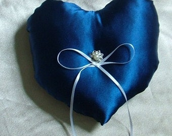custom made blue heart satin ring bearer pillow