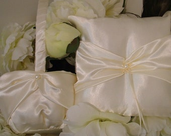 ivory satin flower girl basket and ring bearer pllow