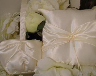 ivory satin flower girl basket and ring bearer pllow