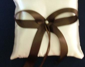 wedding ring bearer pillow custom made chocolate brown on white or ivory satin
