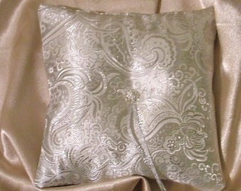 custom made metalic silver brocade ring bearer pillow