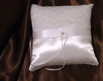 ring bearer pillow custom made white lace on white