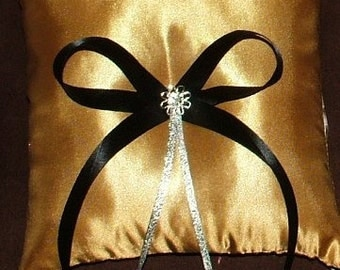 custom made gold satin ring bearer pillow