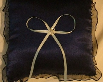 blue custom made satin ring bearer pillow