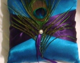ring bearer pillow custom made elegant purple on turquise color