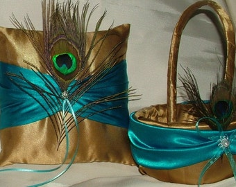 custom made ring pillow and flower girl basket gold and turquise