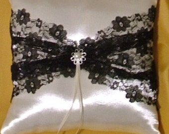 ring bearer pillow custom made white satin black lace wedding