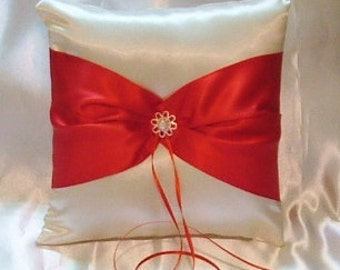 ring bearer pillow custom made satin pillow white or ivory  with red bow