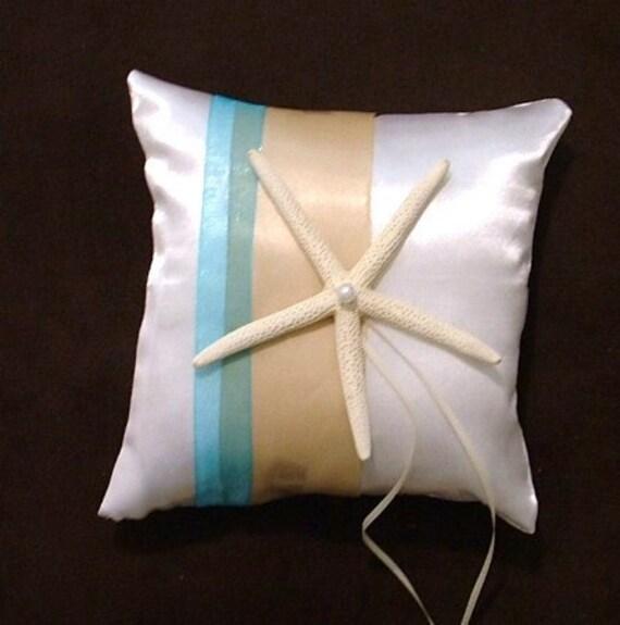 ring bearer pillow custom made white or ivory satin star beach