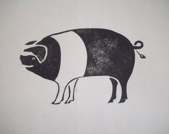 Pig Block Print