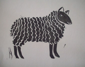 Sheep Block Print