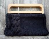 Black Handbag with Wooden Handles
