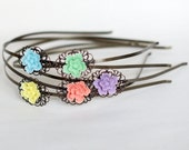 Cherry Blossom Flower Headband Antique Brass Filigree-  Light Blue, Yellow, Mint Green, Coral Pink or Lilac Violet