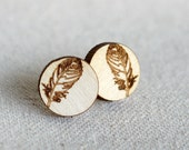 Laser Engraved Wooden Feather Studs