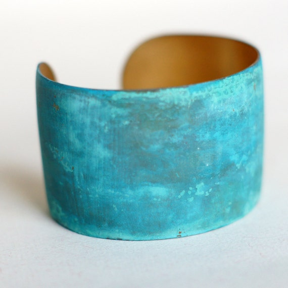 Blue Green Patina Verdigris Wide Brass Cuff - Made to Order