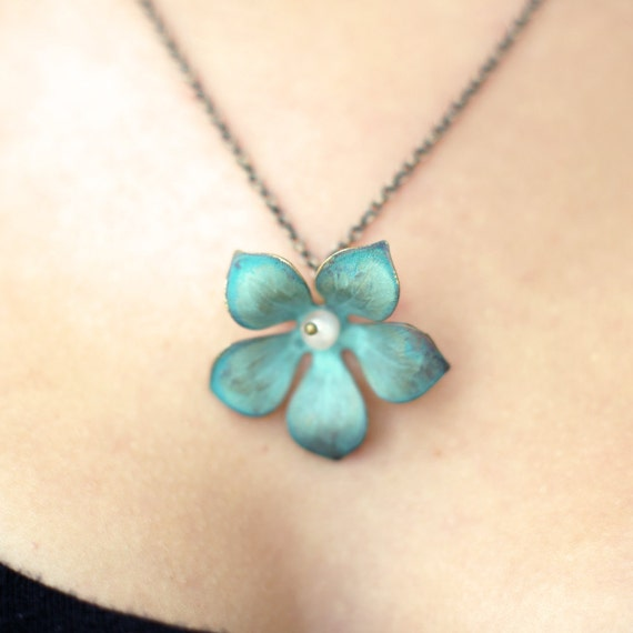 Verdigris and Pearl Flower Blue Green Patina Brass Necklace