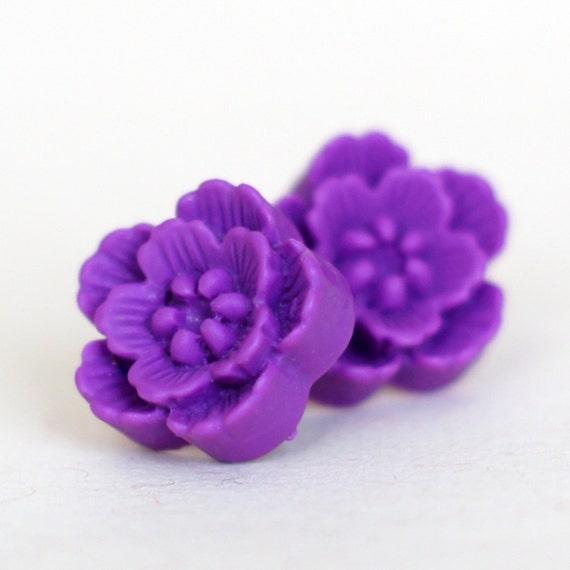 Violet Purple Sakura Blossom Studs - Large Bold Cherry Blossom