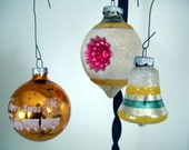 glittery gold, silver, blue, white vintage glitter and glass Christmas ornaments