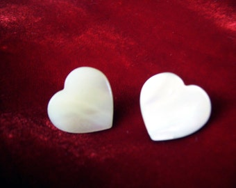 vintage heart - shaped  pearly white shell valentine wedding earrings