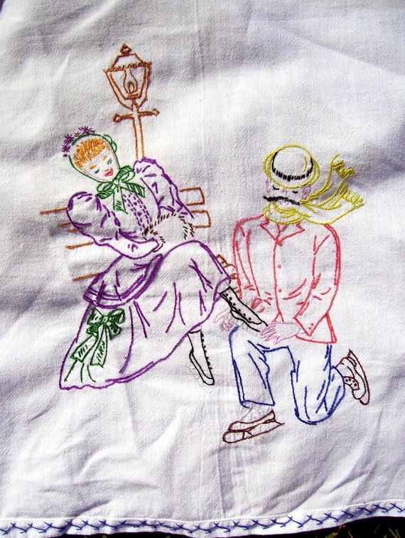 ice skater embroidered table cloth