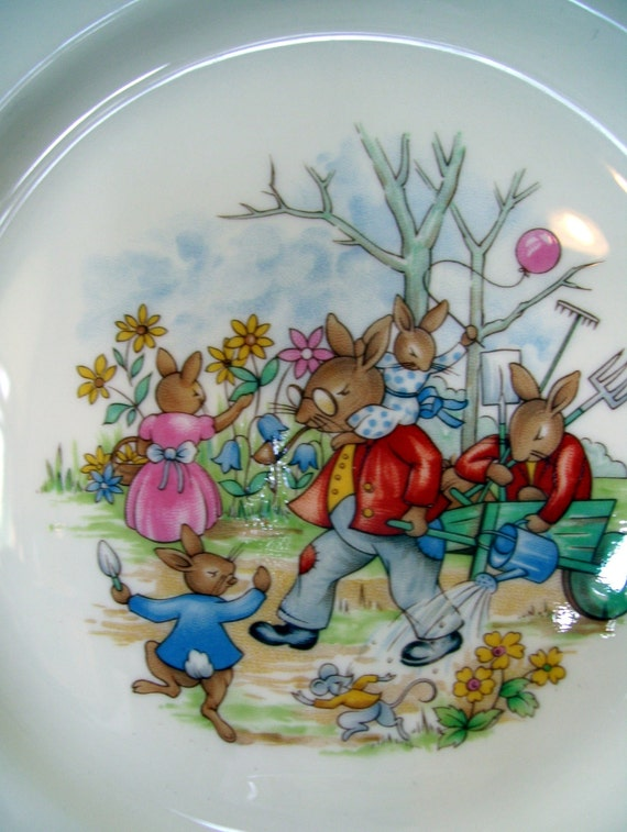 vintage nursery set Royal Doulton Bunnykins plate and bowl baby gift featuring grandpa bunny