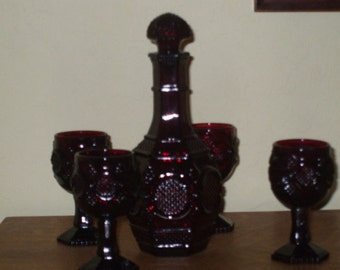 Wine Decanter and Glasses Avon 1876 Red Ruby Cape Cod