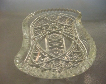 Crystal Dish Cut Press Glass S Shape