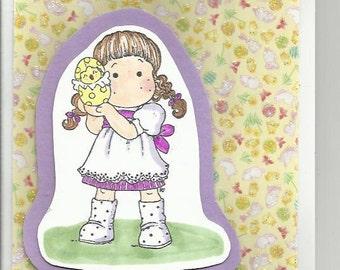 A cute Little girl  Easter card