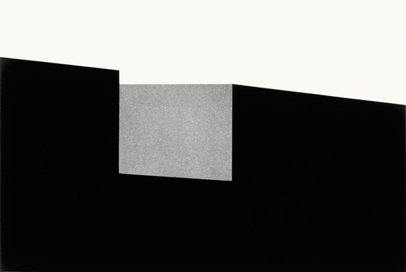 black and white aquatint etching; hand-printed; abstract, minimal, geometric, urban; limited edition fine art print