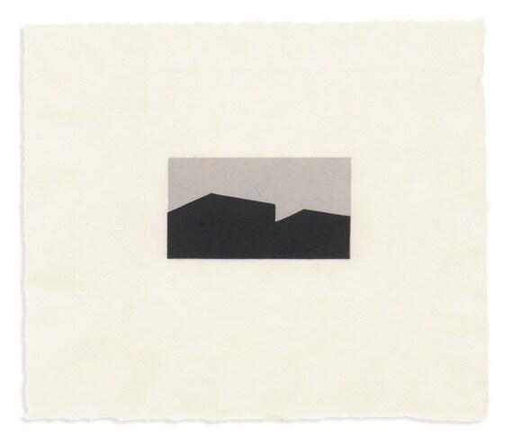 Building Silhouette / Horizontal 11, gray and black, miniature linoleum cut