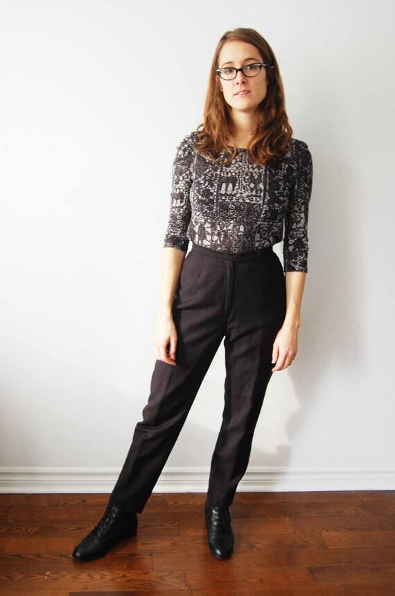 SALE Vintage High Waist Black Wool Trousers XS S