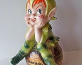 Lefton Porcelain PiXiE Barrel o Money Bank