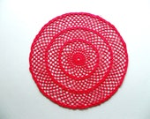 Vintage Hand Crocheted Red Spider Web Doily