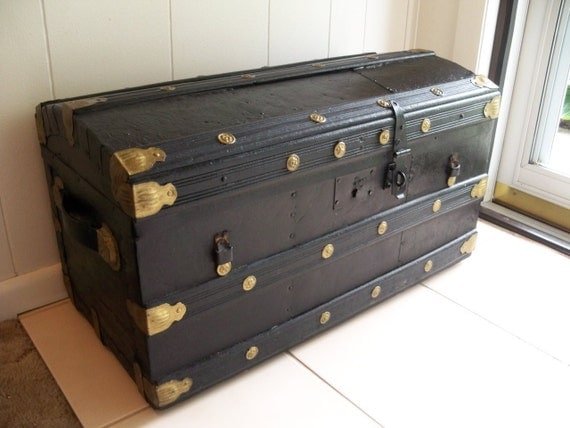 Estate Travel Trunk Child Size Domed Top Antique By