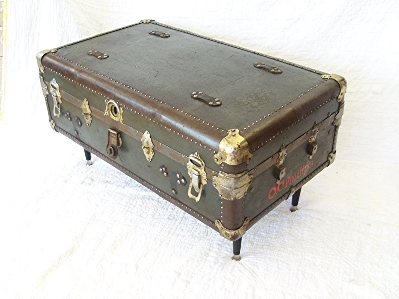 Coffee table steamer trunk vintage wardrobe by mrsrekamepip Old trunks as coffee tables