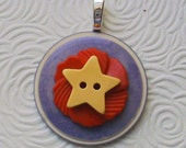 Oh My Stars  Vintage Stacked Button Pendant