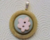 Cloudy Day Vintage Button Pendant