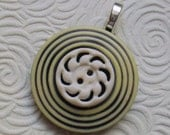 Floral and Concentric Circle Vintage Button Pendant