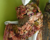 Rose pedal scarf with hand painted wool and silk
