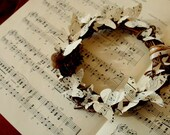 Rustic grapevine wreath - vintage sheet music butterflies