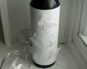 Wine bottle gift wrapper - White Wedding