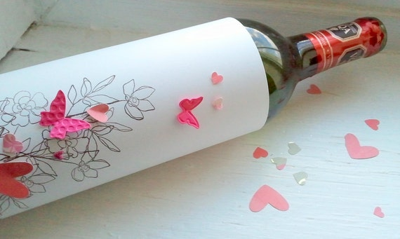 Butterflies and Hearts Wine Bottle Wrapper in Pink