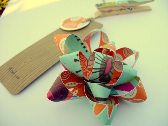 Modern orange and blue handmade paper bow and gift tag set