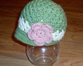 Organic Cotton baby girl beanie size 6 to 12 months