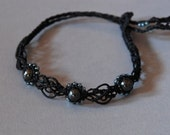 SALE Hematite Handwoven Flower Bracelet