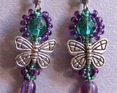 Butterfly and Crystal Macrame Earrings