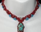 Tibetan Inspired Turquoise Macrame Necklace